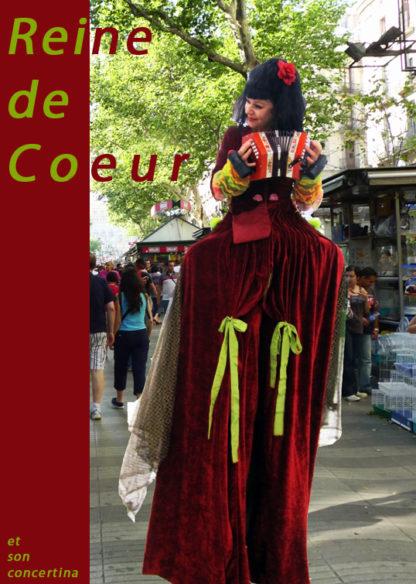 Échassier, la Reine de Cœur, animation sur échasses pour vos évènements.